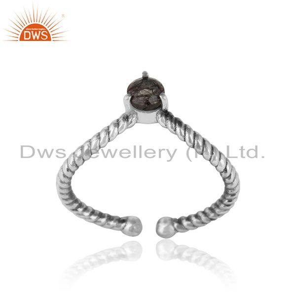 black rutile dainty designer twisted ring in oxidized silver 925