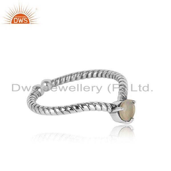 Designer twisted ring in oxidised silver 925 with ethiopian opal