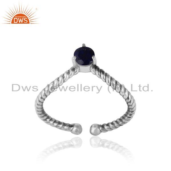 lapis dainty designer twisted ring in oxidized silver 925