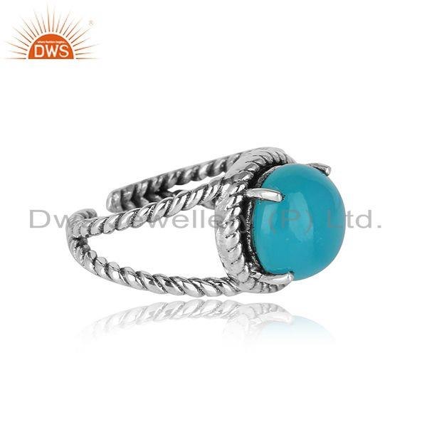 Split shank handmade ring in oxidised silver with aqua chalcedony