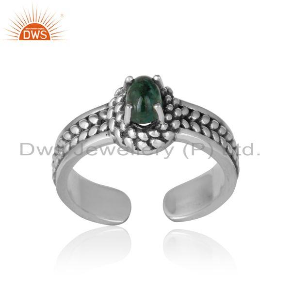 Natural emerald bold designer ring in oxidized silver 925
