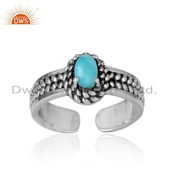 Arizona turquoise handcrafted designer ring in oxidized silver 925