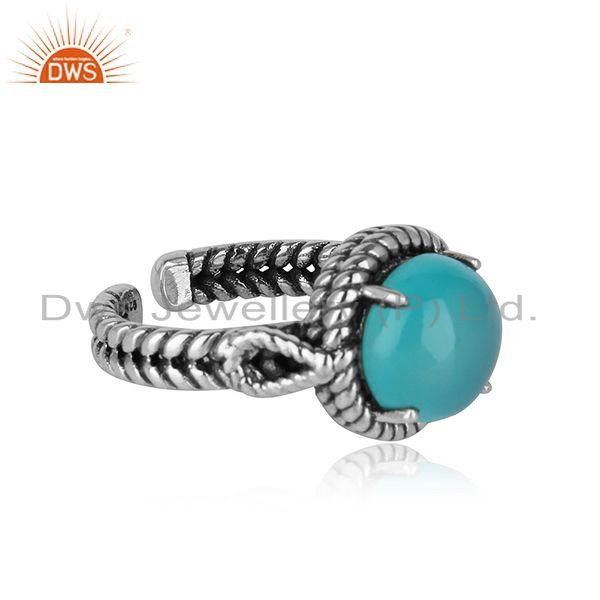 Twisted handmade ring in oxidised silver 925 with aqua chalcedony