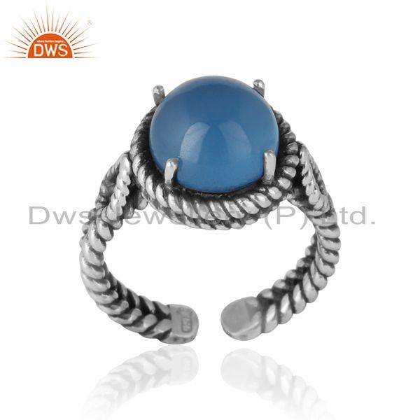 Twisted designer bold blue chacedony ring in oxidized silver 925