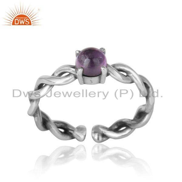 Dainty twisted ring in oxidized silver 925 with natural amethyst