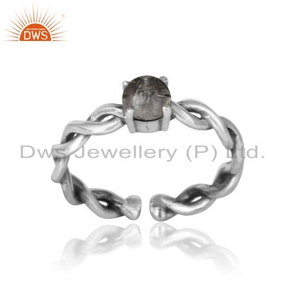 Dainty twisted ring in oxidized silver 925 with black rutile