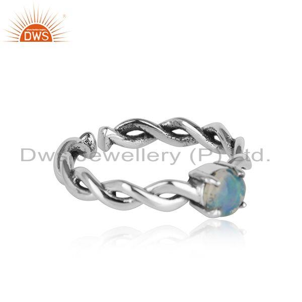 Dainty ring in oxidised silver 925 with shimmering ethiopian opal