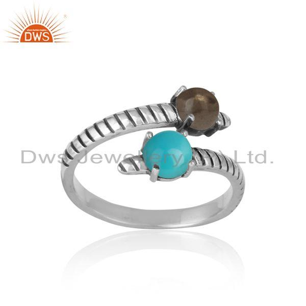 Handmade bypass ring in oxidized silver arizona turquoise smoky
