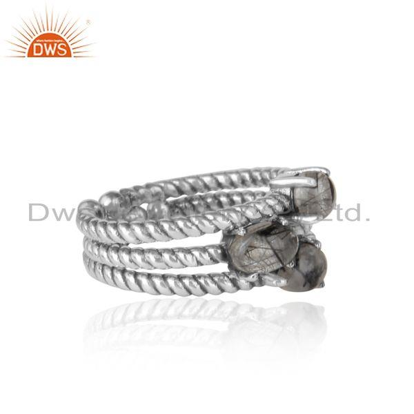 Twisted ring set of 3 in oxidized silver and black rutile