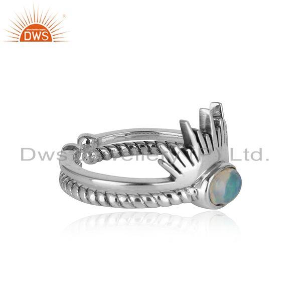 Designer boho ring in oxidise silver 925 with ethiopian opal