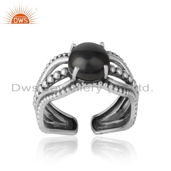 Bold handmade silver ring in oxidized finish with black onyx