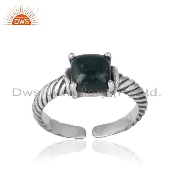 Handcrafted twisted bold ring in oxidized silver 925 blood stone