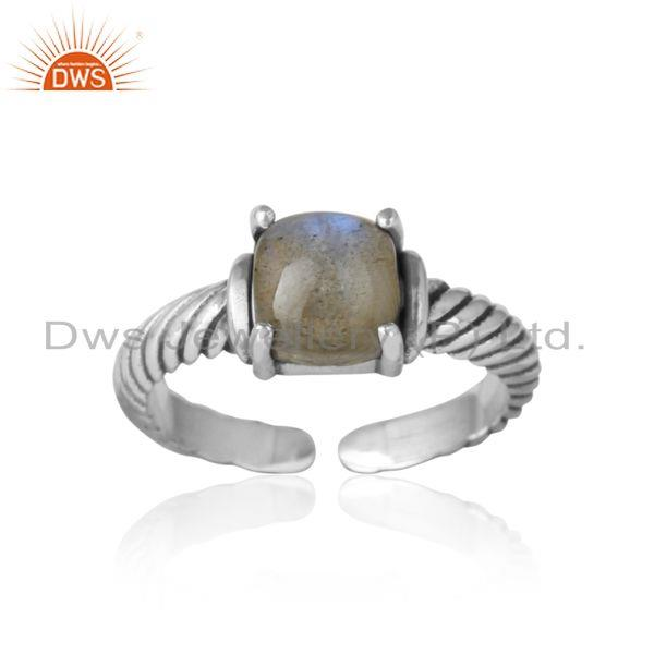 Handcrafted twisted bold ring in oxidized silver and labradorite