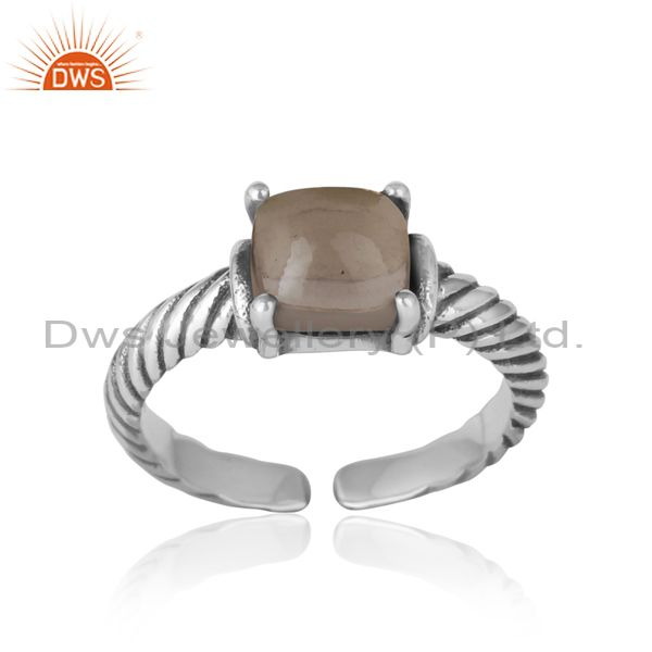 Handcrafted twisted bold ring in oxidized silver 925 and smoky
