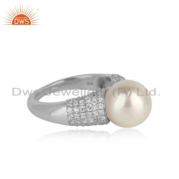 White rhodium plated silver zircon pearl gemstone girls rings