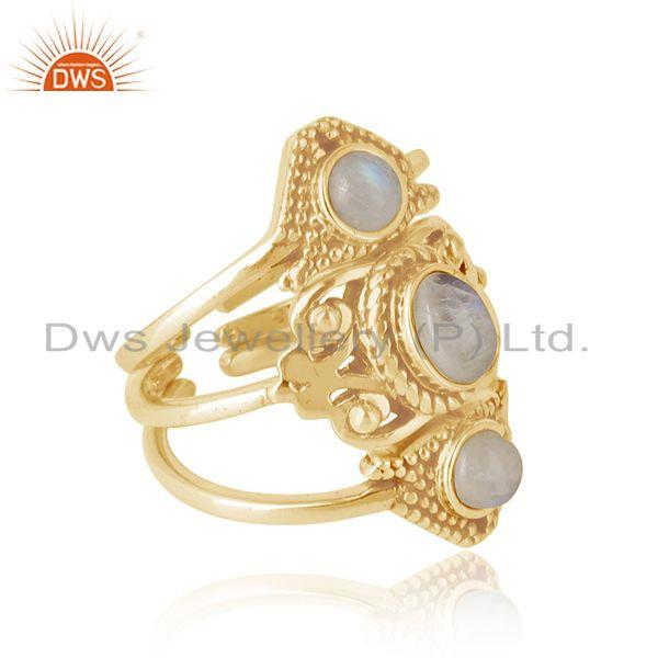 Boho set 3 ring in yellow gold on silver with rainbow moonstone