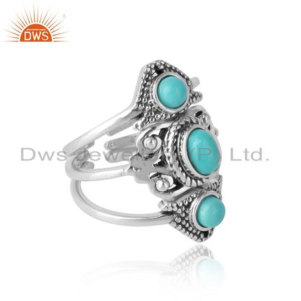 Boho stackable 3 ring in oxidised silver with arizona turquoise