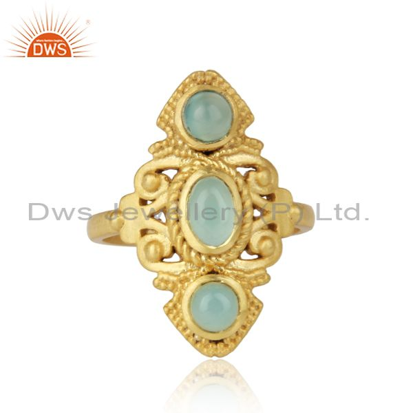 Bohemian Ring in Yellow Gold on Silver 925 with Aqua Chalcedony Wholesale