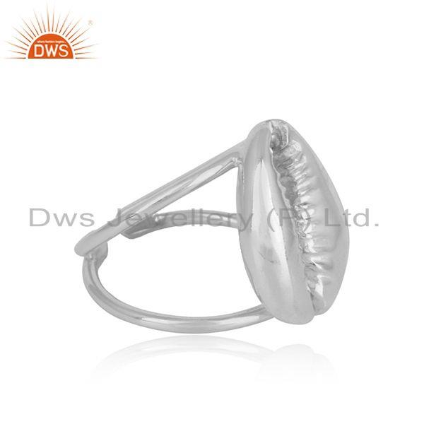 Amazing cowrie ring with splited shank in silver 925