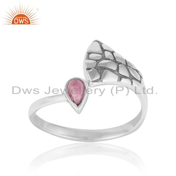 Dainty textured ring in oxidized silver with pink tourmaline
