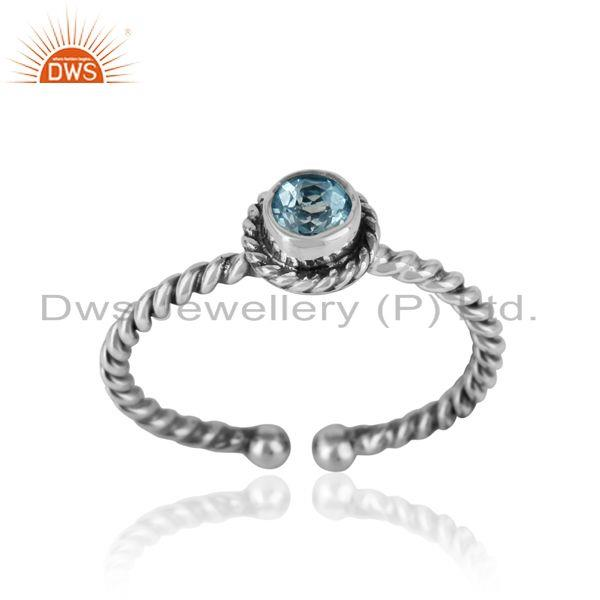 Blue topaz twisted handmade designer ring in oxidized silver 925