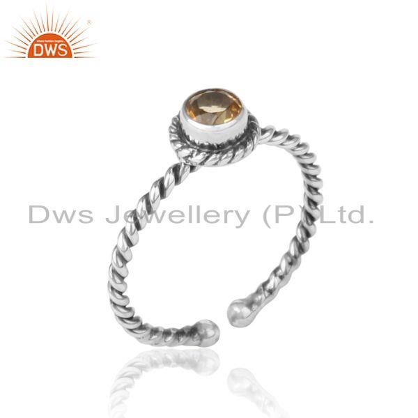 Citrine twisted handmade designer ring in oxidized silver 925