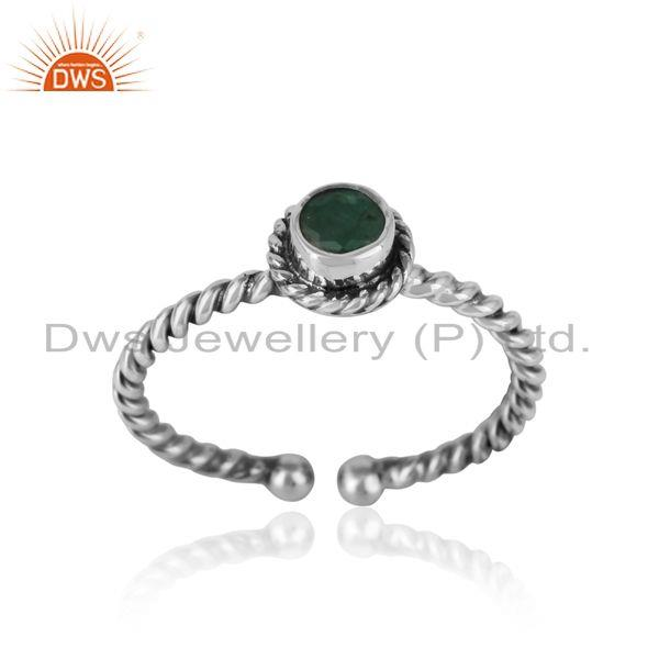 Emerald twisted handmade designer ring in oxidized silver 925