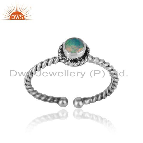 Ethiopian opal twisted handmade designer ring in oxidized silver