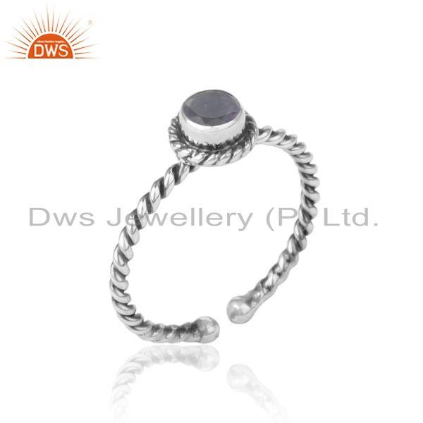 Iolite twisted handmade designer ring in oxidized silver 925