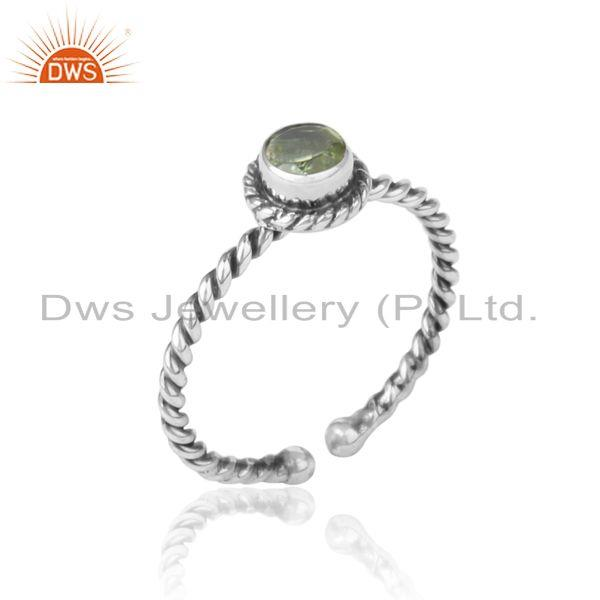 Peridot twisted handmade designer ring in oxidized silver 925