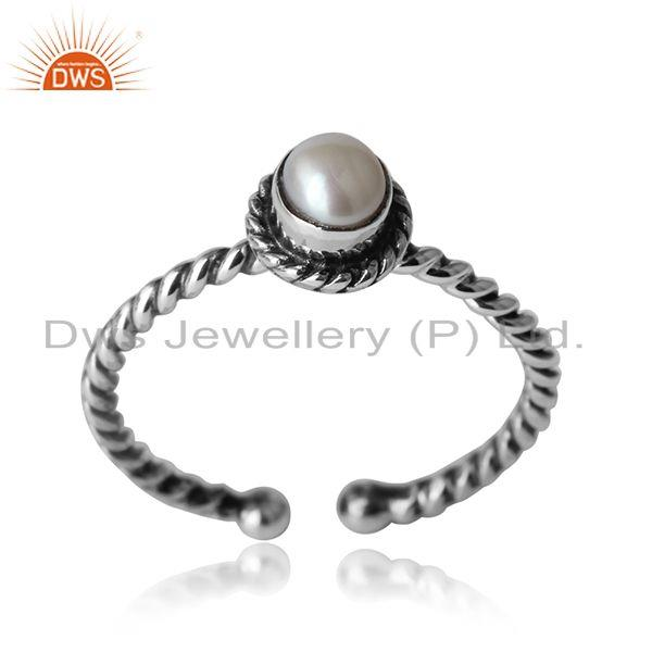 Pearl twisted handmade designer ring in oxidized silver 925