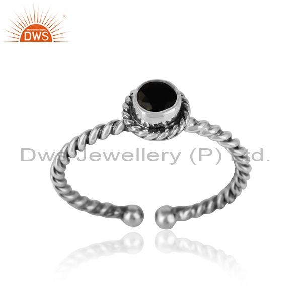 Black onyx twisted handmade designer ring in oxidized silver 925