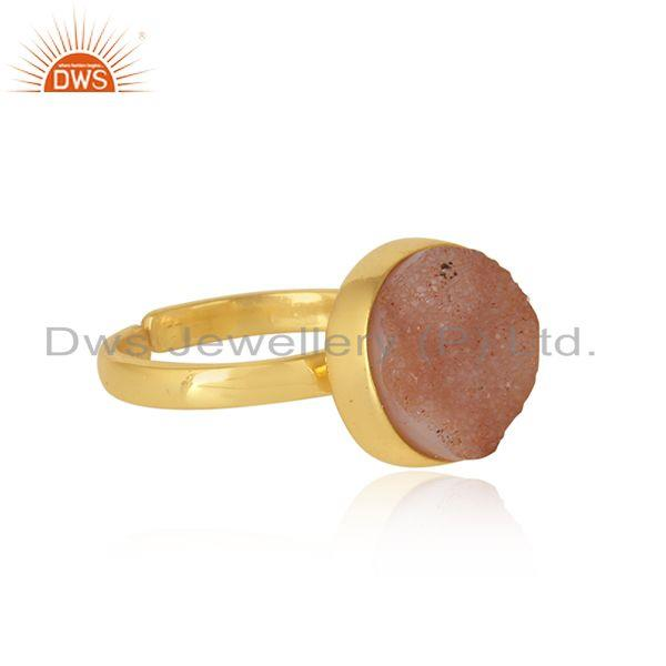 Designer elegant orange druzy ring in yellow gold on silver 925