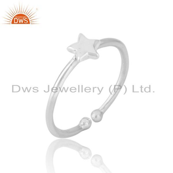 Designer dainty star stackable ring in solid silver 925