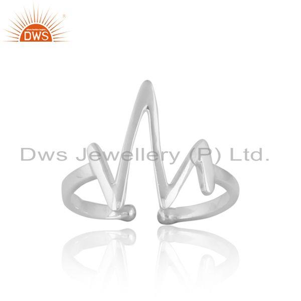 Dainty designer vibration midi ring in silver 925