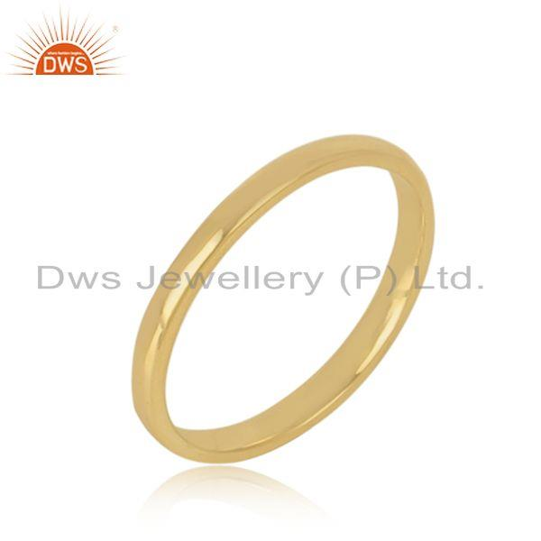 Classic plain band ring in yellow gold on silver 925