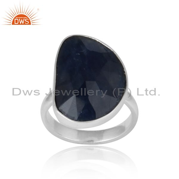 Handmade organic shape blue sapphire ring in solid silver 925