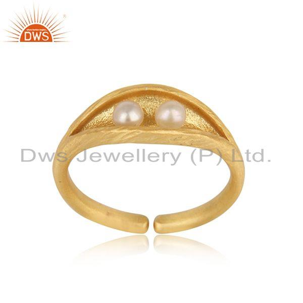 Designer seedpod dainty ring in yellow gold on silver and pearl