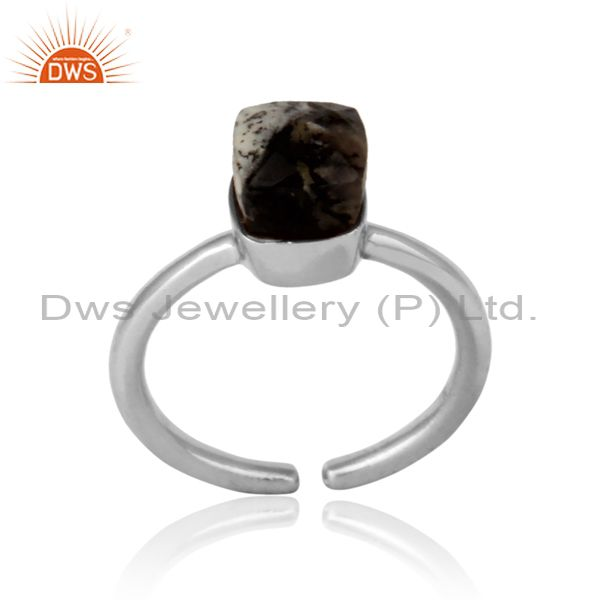 Handmade solitaire ring in white rhodium on silver and dendrite