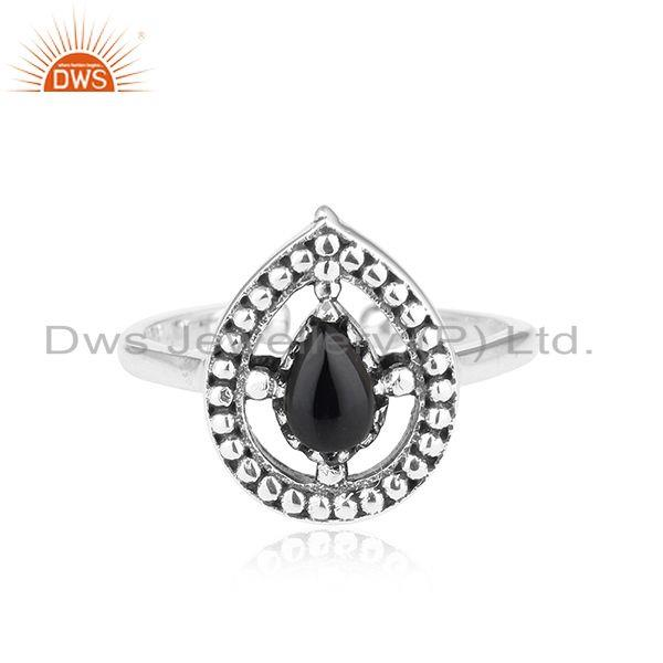 Designer dainty oxidized silver 925 ring with black onyx