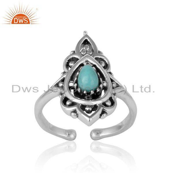 Handcrafted bohemian ring in oxidiszed silver arizona turquoise