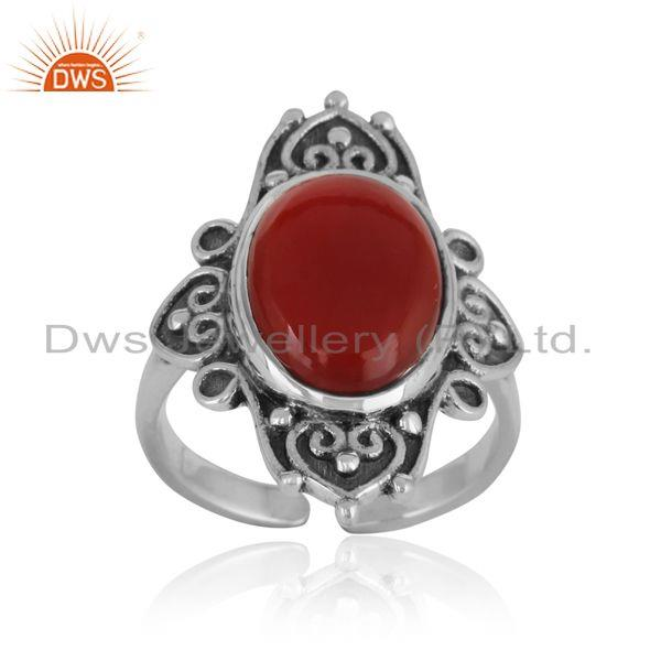 Handmade bold textured ring in oxidized silver with red onyx