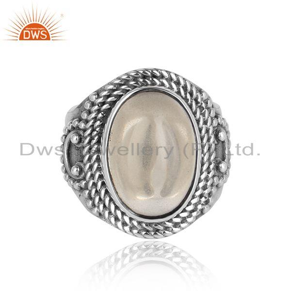 Bold designer ring in oxidized silver 925 with crystal quartz