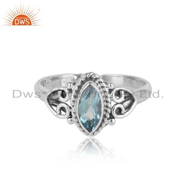 Exquisite textured dainty blue topaz ring in oxidized silver 925