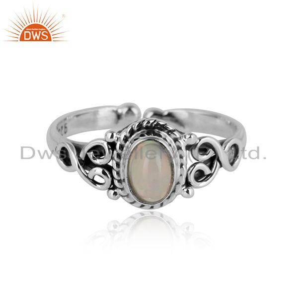 Handcrafted designer dainty ethiopian opal ring in oxidized silver