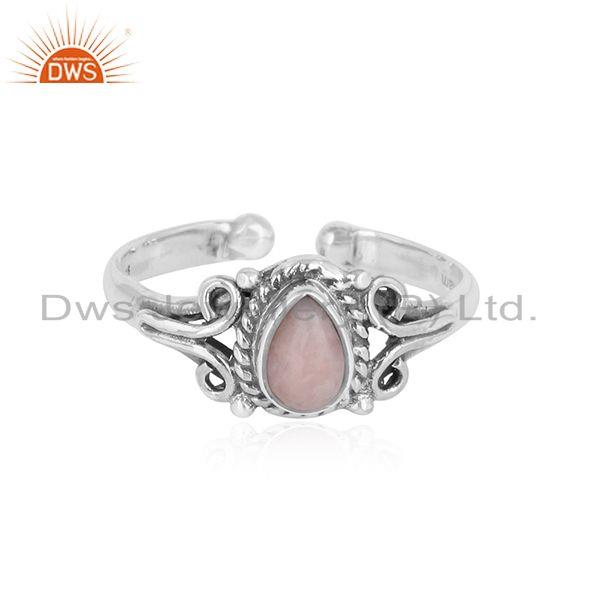 Designer handmade dainty pink opal ring in oxidized silver 925