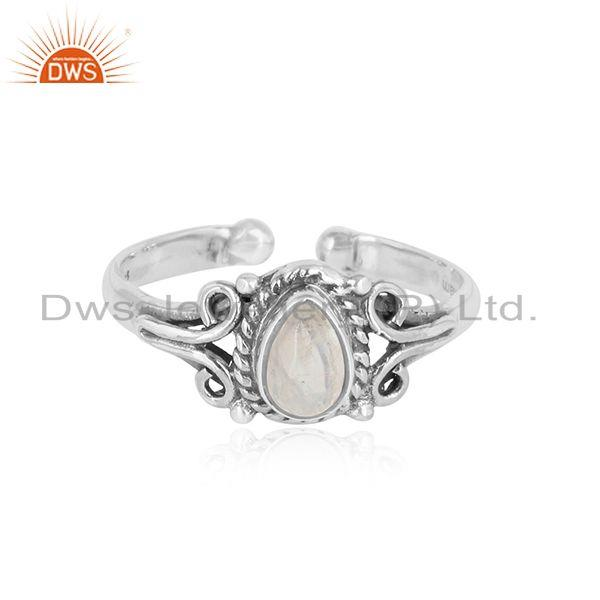 Designer handmade rainbow moonstone ring in oxidized silver 925