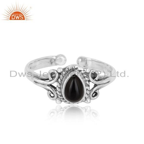 Designer handmade dainty ring in oxidized silver with black onyx