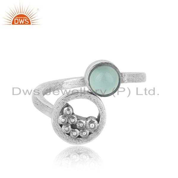 Handcrafted silver granule bypass aqua chalcedony oxidized ring