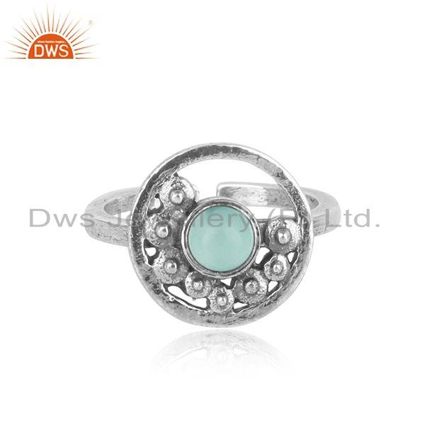 Handcrafted designer aqua chalcedony ring in oxidized silver 925